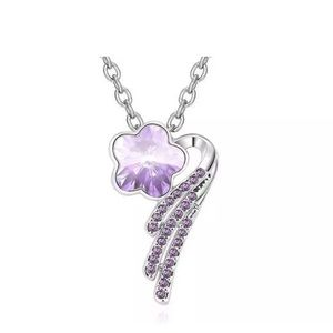 😘 4/$25 Silver Tone Purple Shooting Star Necklace